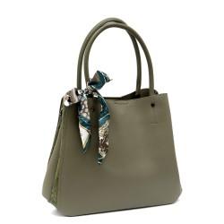Маслено зелена дамска чанта от еко кожа с модерна панделка-1170