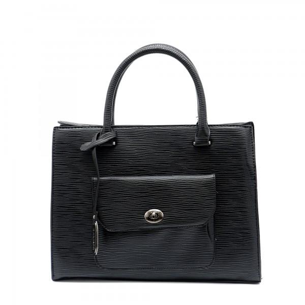 Елегантна дамска черна чанта черно кроко от еко кожа-1172