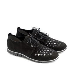 Дамски пролетни обувки от естествен велур с връзки и ефектен мотив-1204