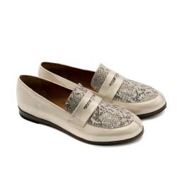 Ежедневни дамски обувки от естествена кожа-бежово криспи и змия-1202