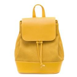 Пролетна дамска чанта от еко кожа в актуален за сезона жълт цвят-1213