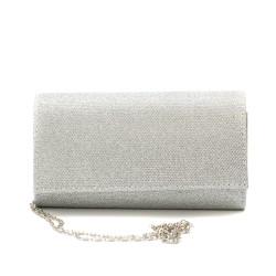 Дамска чанта тип клъч от еко кожа в сребристо-1215