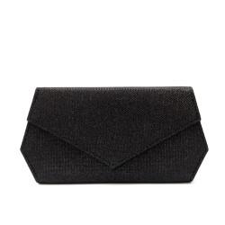 Дамски елегантен клъч в черно от еко кожа-1211
