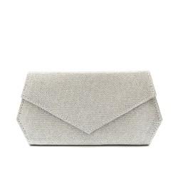 Дамска чанта тип клъч плик вечерна- официална с ефектна визия в сребърно-1211