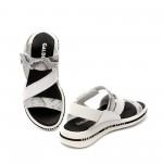Дамски бели сандали от естествена кожа с акцент животински принт - 1238