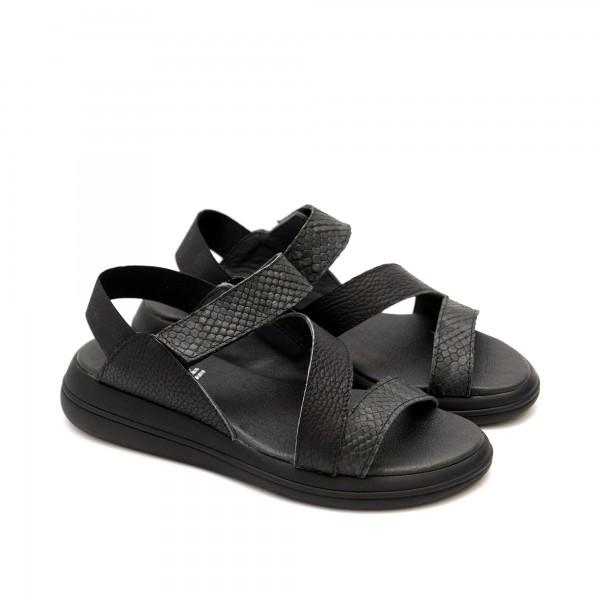Дамски сандали от естествена кожа в черен цвят и кроко мотив-1237