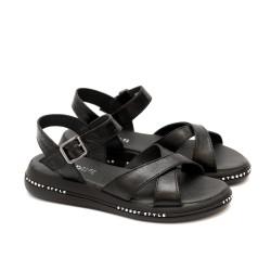 Дамски черни сандали от естествена кожа с каишки - 1235