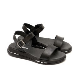 Черни дамски сандали от естествена кожа в черен цвят-1236