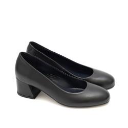 Официални дамски обувки от естествена кожа в черно и широк модерен ток-1592