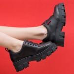 Спортно-елегантни дамски обувки от естествена кожа в черен цвят с връзки и модерно ходило-745