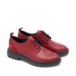 Български дамски обувки от естествена кожа в червен цвят с връки-1603