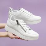 Български дамски обувки от естествена кожа в бял цвят с връзки и цип-1601