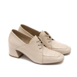 Елеганти дамски обувки от естествен лак в бежов лак и кроко мотив-1600
