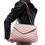 Дамска чанта от еко кожа е розов цвят и метални дръжки-6-1512