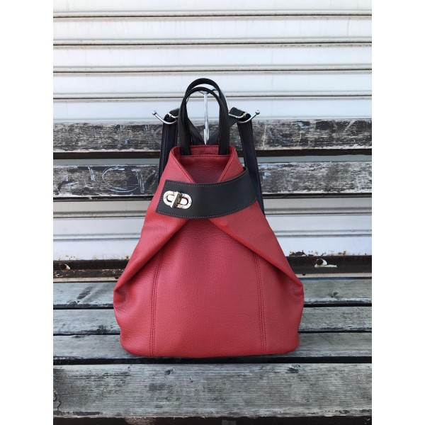 Дамска раница в червен цвят от еко кожа с ефектно затваряне-3-1116