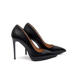 Елегантни обувки от естествена кожа в черен цвят с ток-65