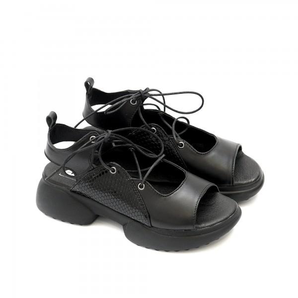 Дамски черни сандали със спортно ходило от естествена кожа с връзки-1321