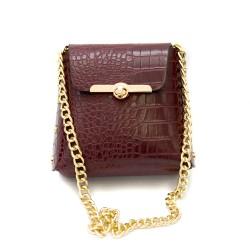 Дамски чанта в бордо с модерен дизайн от еко кожа-137-9