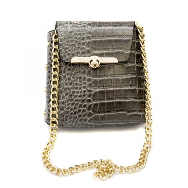 Сива малка кокетна дамска чанта от еко кожа с кроко мотив-137-7