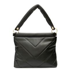 Черна вечерна дамска чанта от еко кожа с изчистен и стилен модерен дизайн-1324