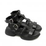 Дамски сандали от естествена кожа в черен цвят с ефектно закопчаване-1327