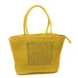 Плетена дамска голяма чанта от еко кожа е жълт цвят-1329-1