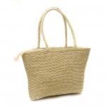 Дамска плажна плетена чанта в бежов цвят-1329-2