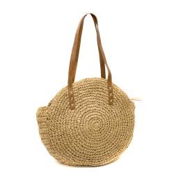 Кръгла сламена чанта за рамо от сплетена хартиена слама с две дръжки-1335-2