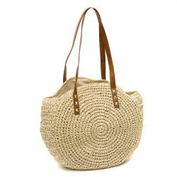 Кръгла дамска чанта от сплетена хартиена слама в бежов цвят-1335-1