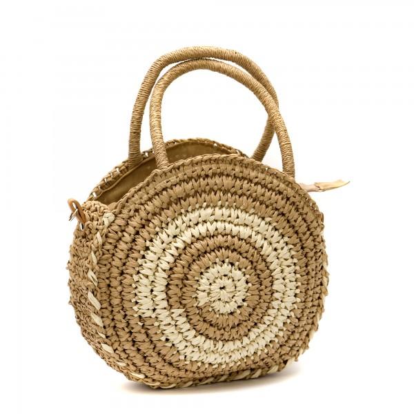 Кръгла дамска чанта от сплетена хартиена слама в комбинация от бежово и кафяво-1334