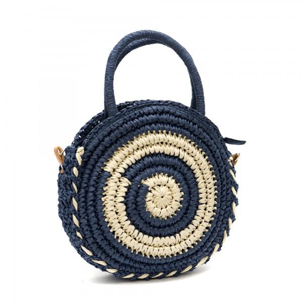 Кокетна кръгла дамска сламена чанта в комбинация от синьо, бежово и таба-1334