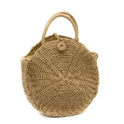 Малка дамска сламена чанта в цвят капучино-1333