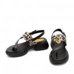 Дамски сандали от естествена кожа в черно с леопард-1338