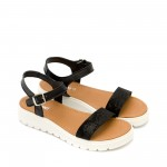Черни ежедневни дамски сандали от естествена кожа-1339