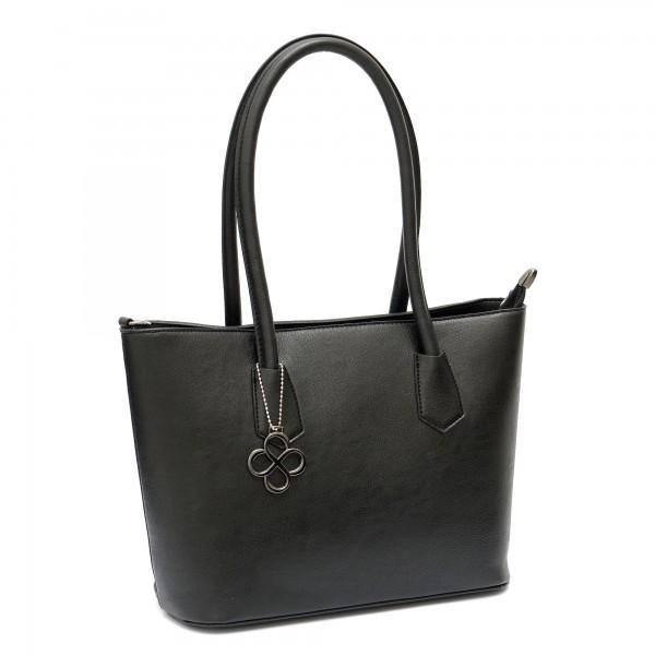 Дамска чанта от еко кожа в черно с изчистена визия-1341