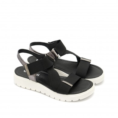 Дамски сандали от естествена кожа черни и платина с равно ходило-1340