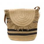 Лятна дамска кокетна плетена чанта в кафяв цвят и черни шарки-1344-2