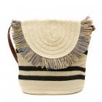 Бежова дамска плетена чанта с модерен дизайн-1344