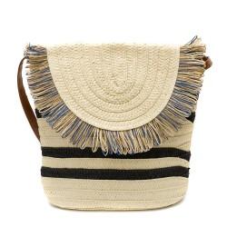 Бежова дамска плетена чанта с модерен дизайн-1344-1