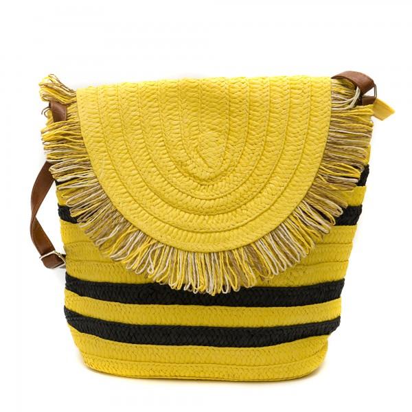 Дамска сламена чанта в жълто и черно-1344
