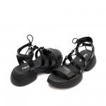 Черни дамски сандали от естествена кожа с кръстосани връзки-1347