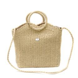 Модерна лятна дамска конопена чанта в бежов цвят-1346-1