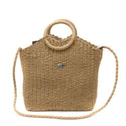 Модерна дамска плетена чанта в кафяв цвят-1346-2
