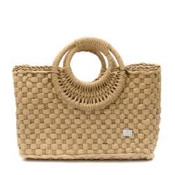 Чанта тип кошница с кръгли дръжки в цвят капучино-1345-3
