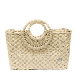 Чанта тип кошница с кръгли дръжки в бежово-1345-1