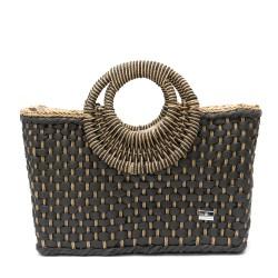 Дамска плетена чанта в комбинация черно и кафяво-1345-2