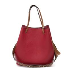 Малка ежедневна червена чанта от еко кожа с модерен дизайн-985