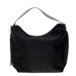 Дамска чанта от еко кожа в черен цвят с бляскав ефект-1824