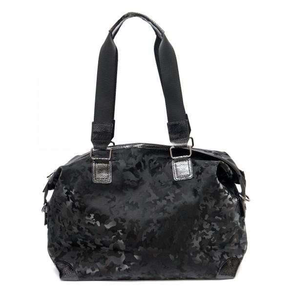 Голяма ежедневна дамска черна камуфлажна чанта от еко кожа-1836