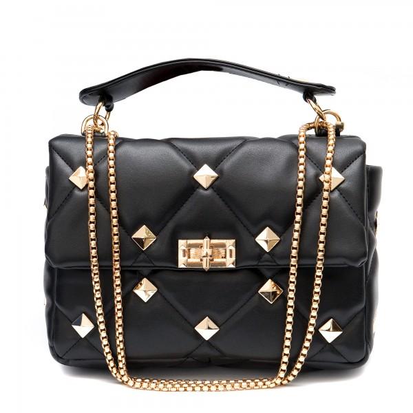 Елегантна малка дамска чанта от еко кожа в черно и златни елементи-1835